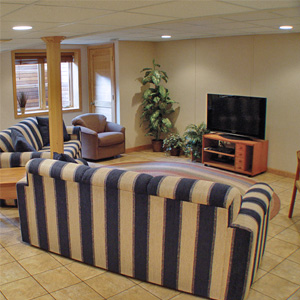 A Finished Basement Living Room Area in Sparta, IL