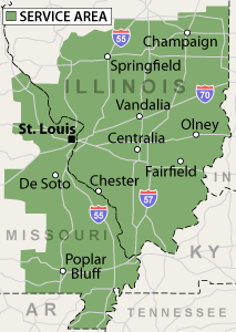 Our Missouri and Illinois service area, showing St. Louis, MO, Springfield, IL and many areas nearby